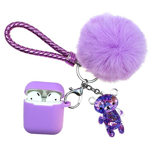 (AirPods 1/2 Silicon Skin and Cover Case Adorable Replacement Holder Drop Proof for Apple Headphone Charging Case 2/1 with Fluffy Fur Ball Glitter Liquid Quicksand Bling Flowing Sparkle Cute Shiny Bear )