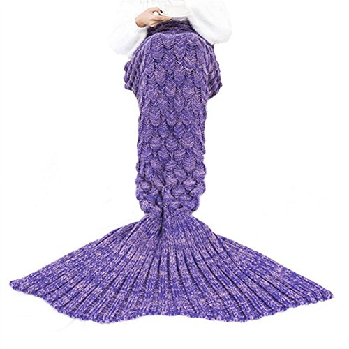 Mermaid Tail Blanket IdealHouse Handmade Knitted Women Crochet Slipping Bag Warm Soft Living Room and Sofa Blanket Purple 71 x 36 Inch