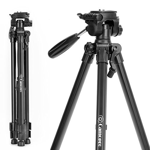 Tripod for Camera - Camopro 62 Inches Lightweight Aluminum Alloy Portable Travel Tripod with Carry Bag for SLR DSLR Camcorder Camera Video DV Lenses Camcorders GoPro Devices Microphones - Tripod by Camopro