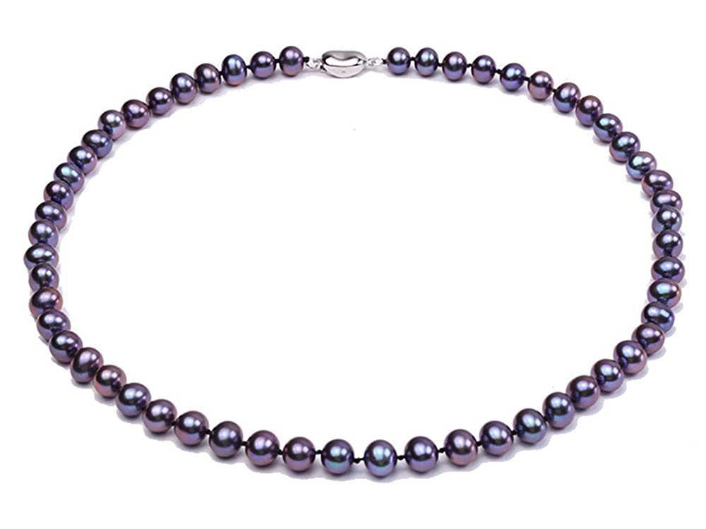 JYX 8mm Black Cultured Freshwater Pearl Necklace 18