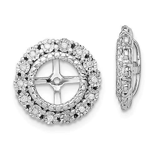 (Mia Diamonds 925 Sterling Silver (.096cttw) Diamond Earring Jacket (13mm x 13mm))