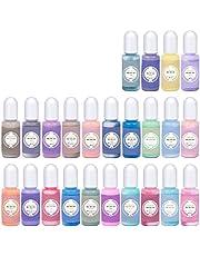 Epoxyhars-pigment echte kleur kleurstof geconcentreerd 24 kleuren vloeibare harskleurstof ideaal voor hars petrischaal, onderzetters, schilderen, bekers maken, UV-hars DIY sieraden maken (10 ml per stuk)