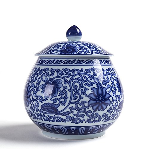ALL DECOR Classic Asian Blue and White Ceramic Urn Fine Chinese Porcelain Temple/Spice Jar (blue and white)