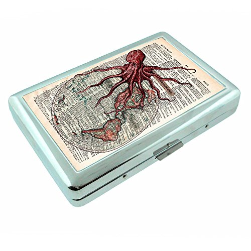 For Cigarette or Rolling Paper Like Raw Metal Silver Cigarette Case Holding 100's Octopus (Cigarette Money Card Case)