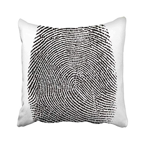 FJPT Throw Pillow Cover Black Thumbprint Real Fingerprint in White Super Macro Black Archetype Personality Identity Abstract Allegory Cotton Pillowslip for Sofa Bed Stand Size Pillowcase 16x16 Inch from FJPT