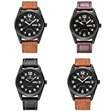 Men's Waterproof Analog Quartz Classic Wrist Watches With Leather Strap Business Watch For Men