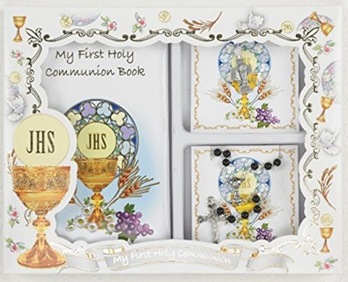 Boys First Communion Gift Set with Prayer Book, Rosary, and Cross Pendant