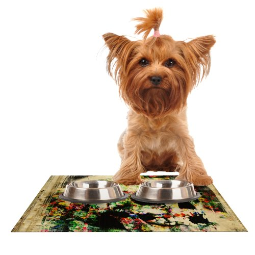 Kess InHouse Frederic Levy-Hadida Floral Skully  Feeding Mat for Pet Bowl, 18 by 13-Inch