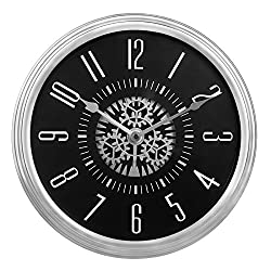 SMC 12 inch Large Retro Modern wall decor Mechanical Moving Gear Revolving Motion Wheel Wall Hanging Clock, Battery operated