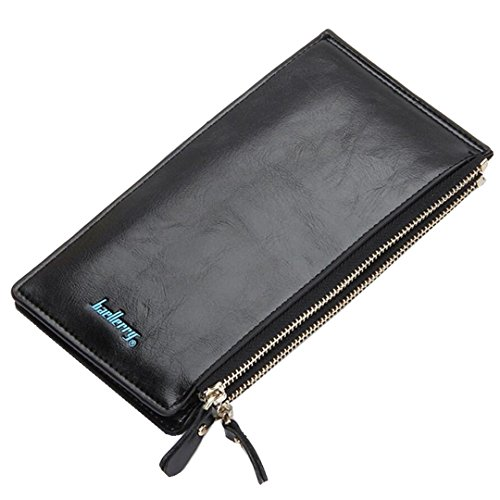 Long Fold Wallet for Women Oil Wax Leather Purse Slim Thin Card Organizer Phone Clutch Wallet with Zipper Pocket (Black)