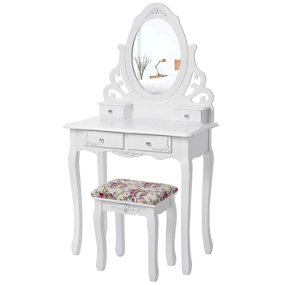 Liergou-Home Schminktisch Schlafzimmer Multi-Funktions-kleines Apartment Mini-Schminktisch Make-up-Tisch (Farbe : Weiß, Größe : 75 * 40 * 140cm)