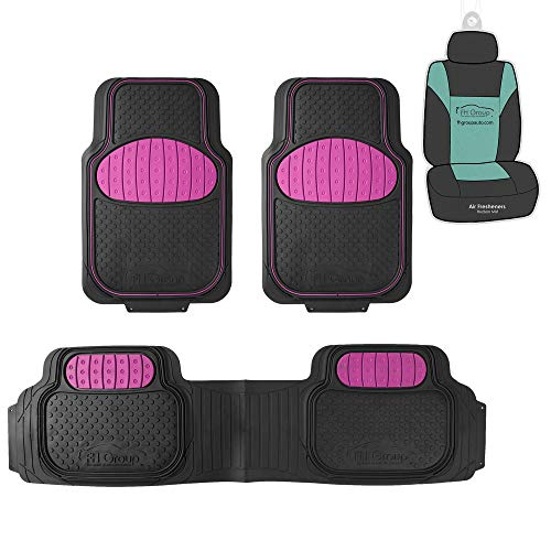 FH Group F11500 Heavy Duty Trimmable Touchdown Floor Mats (Pink) Full Set with Gift - Universal Fit for Trucks, SUVs, and Vans