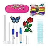 Magic Embroidery Pen Punch Needles,blueelica Embroidery Stitching Punch Needle Set Craft Tool with Storage Box Including 50 Color Threads for DIY Threaders Sewing (pink)
