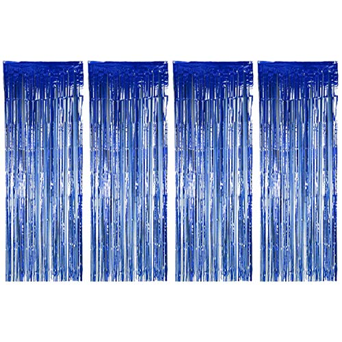 Joyclub Blue Foil Fringe Curtain, Metallic Photo Booth Tinsel Backdrop Door Curtains for for Wedding Birthday and Christmas Festival Happy New Year Party Decoration(4 Pack, 12ft x 8ft)