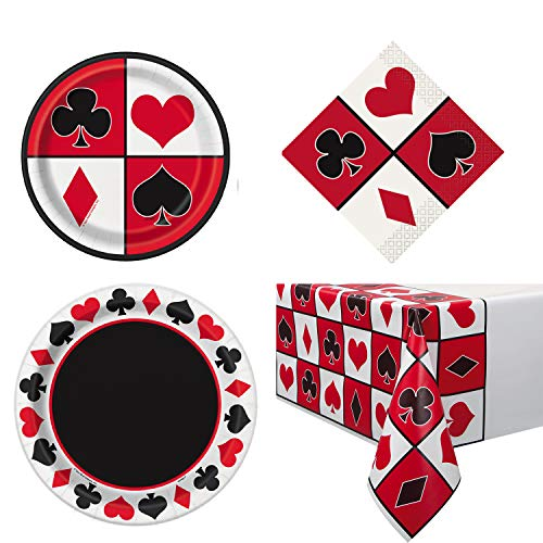 Unique Casino Party Bundle | Beverage Napkins, Dinner & Dessert Plates, Table Cover | Great for Las Vegas/Poker Night Birthday/Christmas/Corporate Themed Parties -