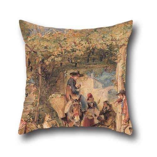 pillowcover-of-oil-painting-john-frederick-lewis-figures-and-animals-in-a-vineyard-18-x-18-inches-45