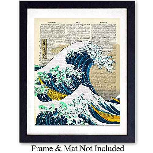 Photo Print Off - Wave off Kanagawa Japanese Wall Art Print on Dictionary Photo - Ready to Frame (8X10) Vintage Photo - Great Gift for Surfers - Cool Home Decor