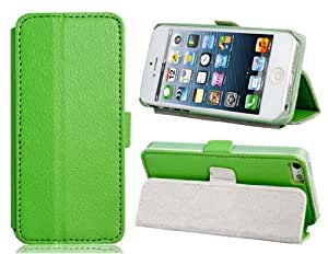 Wrui Textured Faux Leather Flip Case with Stand for iPhone 5S/5 (Green)