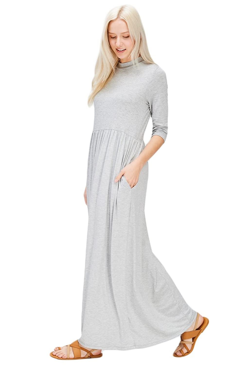 eeb6cf439c Knit Full Length Babydoll Jersey Draped Maxi Dress Featuring Round Neck  with 3 4 Sleeves Comfy Loose Fit with Two Full Size Pockets