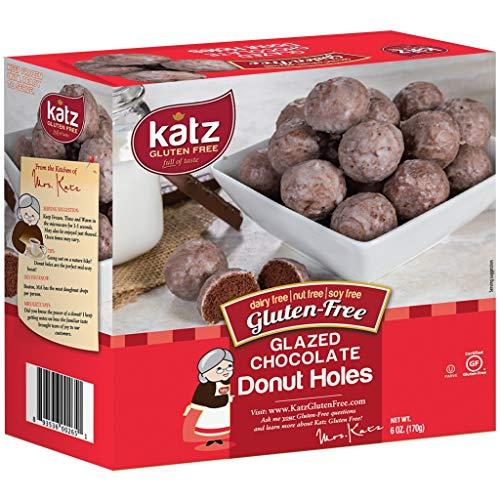Katz Gluten Free Glazed Chocolate Donut Holes | Dairy, Nut, Soy and Gluten Free | Kosher (3 Packs, 6 Ounce Each)