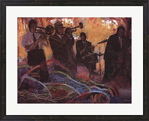 (Kansas City Nights by Allan Hill Framed Art Print Wall Picture, Espresso Brown Frame, 31 x 25)