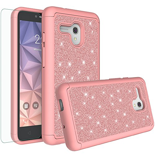 Jitterbug Smart (5.5inch) Case, Glitter Bling Shock Proof Hybrid Case with [HD Screen Protector] Dual Layer Protective Phone Case Cover for Jitterbug Smart Easy-to-Use 5.5 - Rose Gold