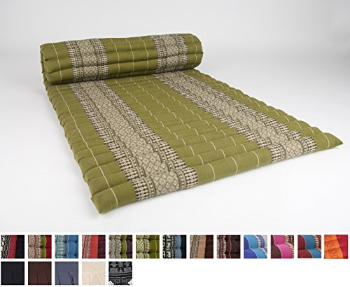 [Leewadee Roll Up Thai Mattress, 79x30x2 inches, Kapok Fabric, Green, Premium Double Stitched] (Asian Bed)