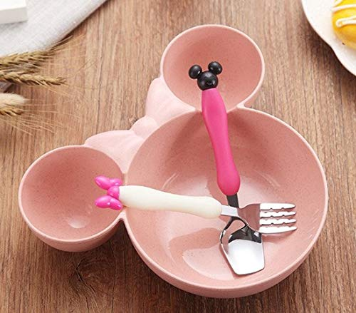 (Best Quality - Dishes - PCS Cartoon Baby Bamboo Tableware Solid Feeding Mickey Dishes Baby Bowl Plate Food Feeding Dinnerware Set Plates for Children - by SeedWorld - 1 PCs)