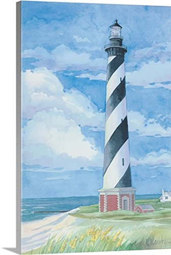 Paul Brent Premium Thick-Wrap Canvas Wall Art Print entitled Lighthouse, Cape Hatteras, NC (Banks Nc Outer Lighthouse)