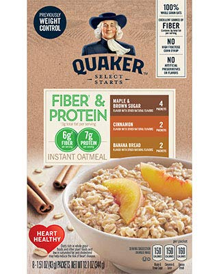 Quaker Instant Oatmeal, Fiber & Protein 3 Flavor Variety Pack, Individual Packets, 32 Count
