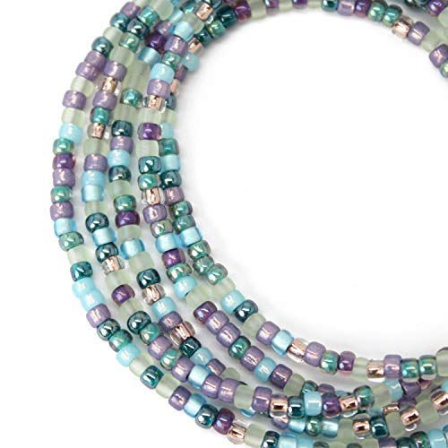 Blue Purple Seed Bead Necklace-Sterling Silver Clasp-Short to Long Lengths Available
