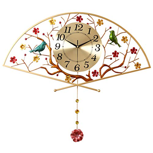 Decorative Wall Clock Three-Dimensional Wall Clock Chinese Wall Clock - Pendulum Clock - Postmodern Style - Plum and Bird Shape - Living Room Office (Gold)