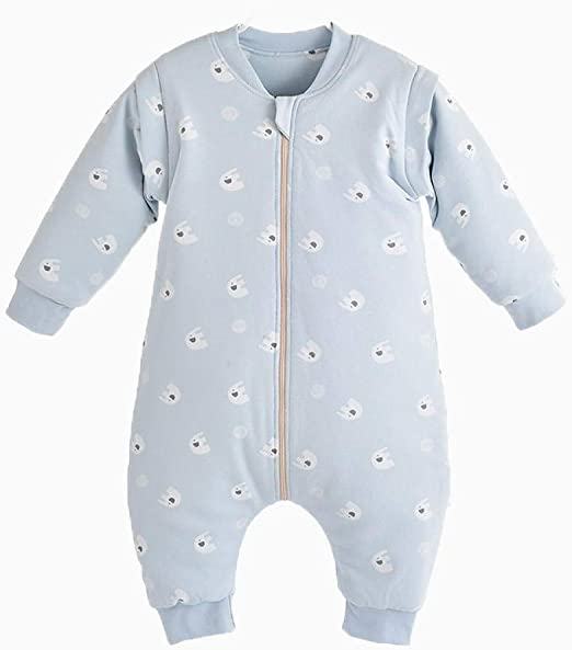 Saco de Dormir Acolchado de Algodón para Bebé ,Saco de dormir de algodón para bebés y de invierno cálido antipatadas, piernas de bebé-Light blue_80CM,Saco de Dormir para bebé Ideal para Invierno: Amazon.es:
