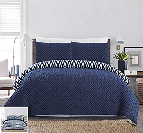 Chic Home 2 Piece Ora Heavy Embossed and Embroidered Quilted geometrical pattern REVERSIBLE printed Twin Comforter Set Navy