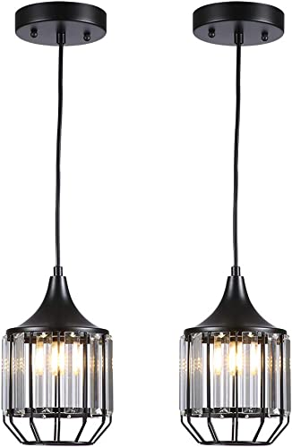 Cuaulans 2 pack Modern Industrial Crystal Pendant Light, Black Ceiling Hanging Pendant Lighting Fixture for Dining Room, Living Room,Kitchen,Bar