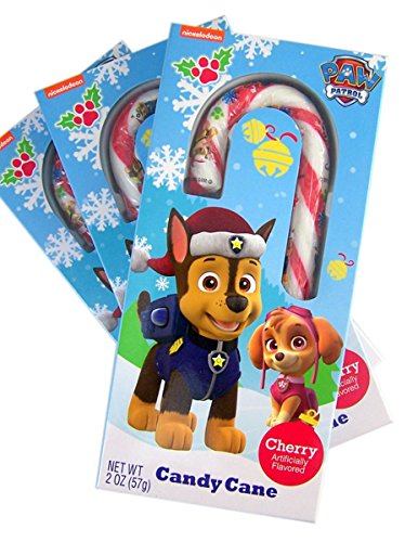 Paw Patrol Character Fruit Flavored Candy Cane Christmas Stocking Stuffer, 2 oz, Pack of 3
