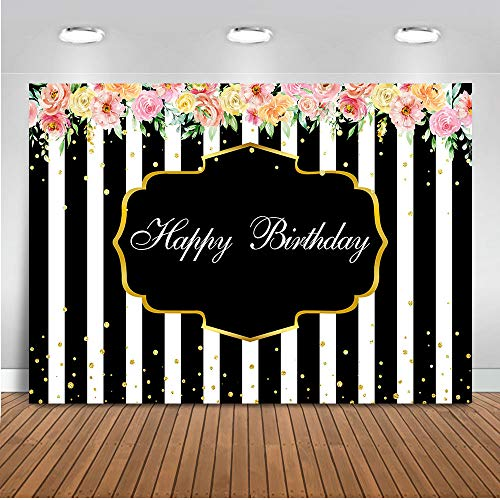 Mocsicka Happy Birthday Floral Backdrop 7x5ft Black and White Stripe Gold Spot Birthday Photo Booth Backdrops Colorful Roses 16th Birthday Photography Background