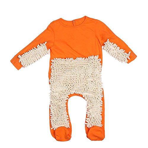 Baby Mop Romper Floor Cleaning Mop Suit Crawl Jumpsuit(Orange+Beige 80cm)