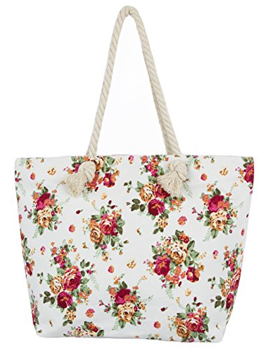 Leisureland Rope Handle Canvas Tote Bag Vintage Floral (One Size, Ivory)