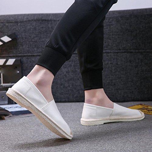 Fheaven Unisex Par Kvinners Menns Espadrilles Komfort Lerret Cap Tå Slip-on Dagdriver Plattform Flat White