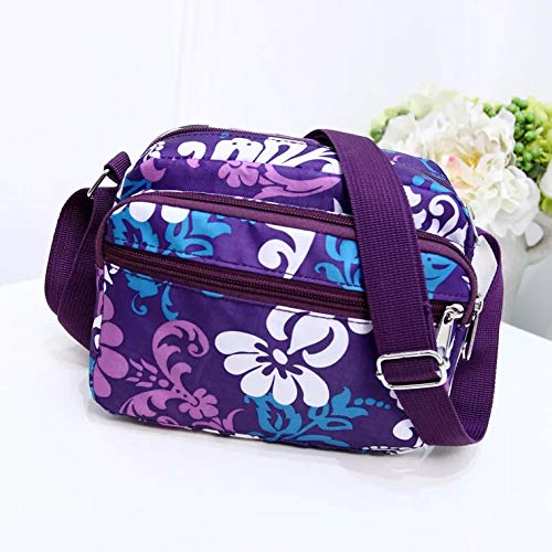 Flower Zip Women Water for bags Resistant Shoulder messenger Veriya Nylon Crossbody Cross Handbag Bag Body Purple Ladies Lightweight Multi Pockets qq6wHCAx