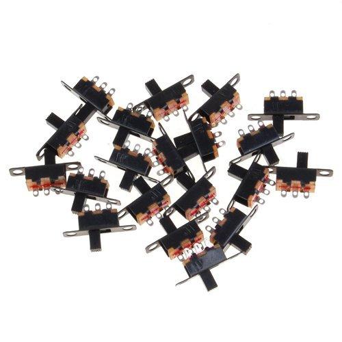 Hilai Mini interrupteur à glissière SPDT pour petits projets de bricolage en électronique 5V 0, 3A Noir 3A Noir