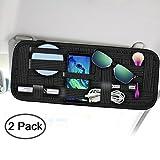 Car Sun Visor Organizer, SourceTon 2 Packs Car Visor Storage Anti-Slip Elastic Woven Board for Sunglass Holder Parking Fuel Card Digital Accessories