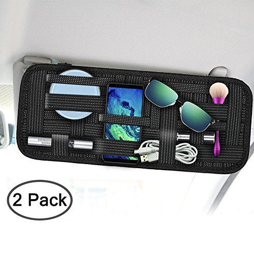 Car Sun Visor Organizer, SourceTon 2 Packs Car Visor Storage Anti-slip Elastic Woven Board for Sunglass Holder Parking Fuel Card Digital Accessories (Organizer Sun Visor)