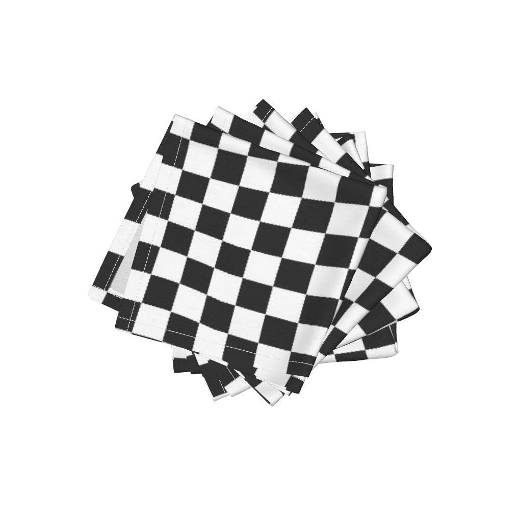 Roostery Racing Flag Wavy Wave Linen Cotton Cloth Cocktail Napkins - Race Car Checkered Flag Checkerboard Game Bw Black White Wavy Op Art Children Fan Kid Child by Wren Leyland (Set of 4) 10 x 10in
