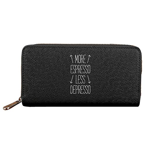 Wallets Ladies Clutch Espresso - More Espresso Less Depresso Women Wallet Pu Leather Clutch Long Holder Wallet