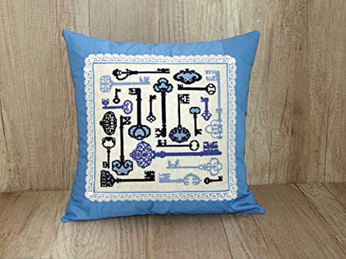 - Blue pillows decorative throw pillows cover Cross stitch décor rustic home Needlepoint pillowcas decorative hand embroidered Country farmhouse throw cushion covers shabby chich cushions