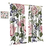 cobeDecor Rose Window Curtain Fabric Flourishing Pink Roses with Tender Spring Summer Soulful Blossoms Bridal Drapes for Living Room W120 x L108 Pale Pink Green Bluegrey Review
