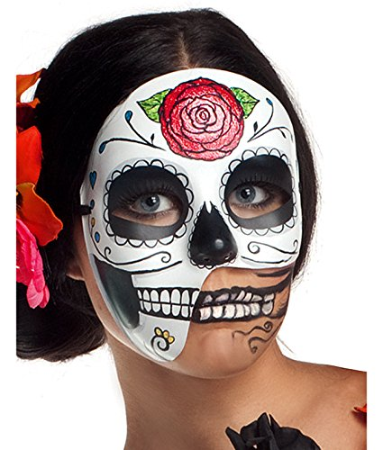 [Party King Women's Day of The Dead 3/4 Costume Accessory Mask, Black/White, One Size] (Womens Day Of The Dead Costume)