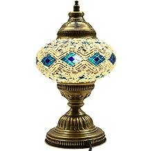 New* BOSPHORUS Stunning Handmade Turkish Moroccan Mosaic Glass Table Desk Bedside Lamp Light with Bronze Base (Blue)